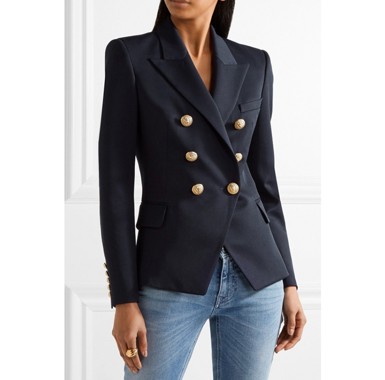 AAA CLASS Navy Blue Double Breasted Gold Buttoned Blazer Long Sleeved High quality Woman Suit