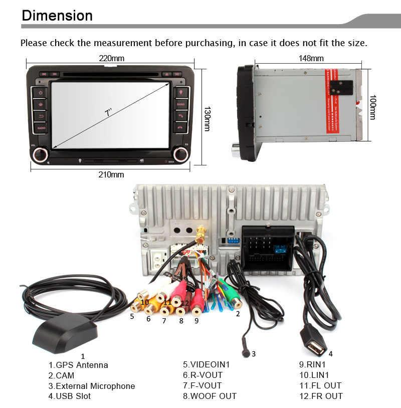 Eunavi 2 喧騒車の Dvd プレーヤー VW ゴルフ POLO ジェッタ MK5 MK6 パサート B6 シュコダ Vw トゥーラン 3 グラム USB GPS BT IPOD FM RDS ミラーリンク swc