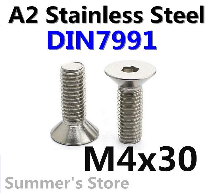 50pcslot DIN7991 M4*30mm Stainless Steel screw Hex Socket Flat Head Cap Screw M4*30mm Metric Countersunk Head screw Bolt