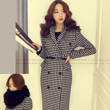 2016 Korean winter fashion slim double breasted turn-down collar long coat trench