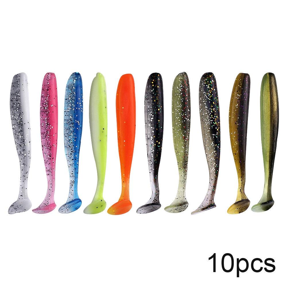 Lot de leurres souples Shad 5 ou 10 pièces, 7 ou 10 cm