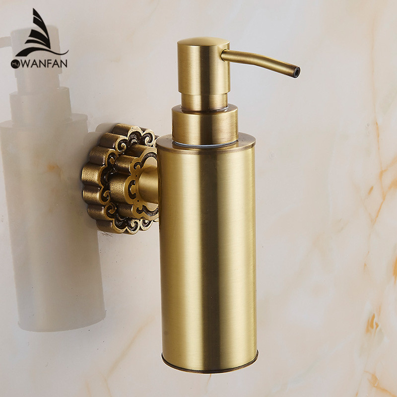 Liquid Soap Dispensers Antique Brass Wall Mounted Shampoo Soap Dispenser Liquid Soap Holder Bathroom Accessories 10704F european style brass antique bronze solid brass bathroom soap holder soap basket bathroom accessories soap dish bathroom shelf