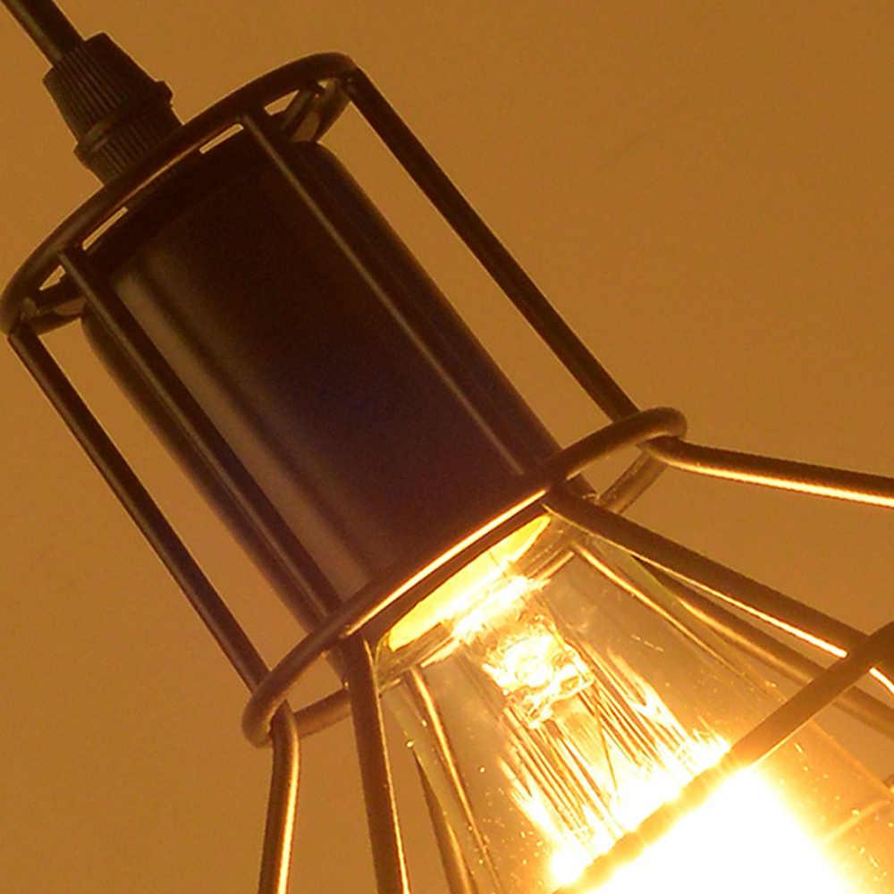 現代の鉄ケージシャンデリアペンダントランプミニマリストレトロ簡潔な 9 スタイル調節可能な天井ランプ金属屋内ランプシェード