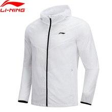 Li-Ning Мужская ветровка для бега, нейлон, Стандартная посадка, подкладка, дышащий комфорт, спортивные куртки с капюшоном, пальто AFDN149 MWF362