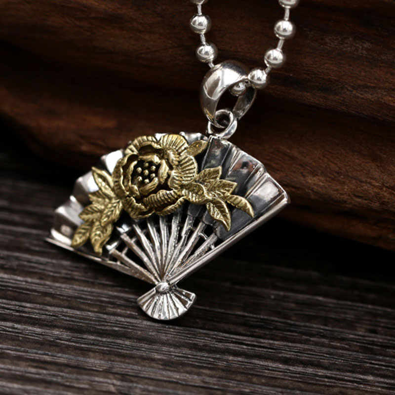 FNJ 925 Silver Fan Pendant Fashion Lucky Rose Flower Hang Original Pure S925 Thai Silver Pendants