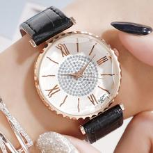 Ladies Dress Watch Luxury Women Quartz Starry Sky Wrist Watches For Women Crystal Diamond Leather Strap Watch relogio feminino цена и фото