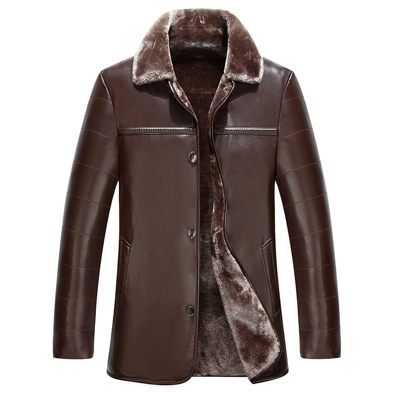 Men s new winter leather jackets fur coat plus a long warm - cultivated sheep skin lapel High-quality brand clothing MK454