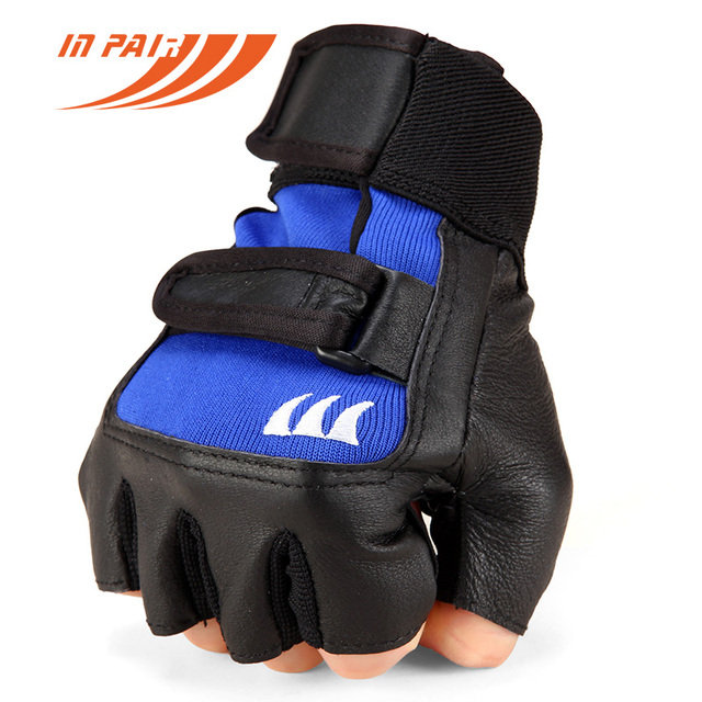 Men Women Gyms Body Building Weight lifting Leather Fitness Gloves Sports Equipment Workout Exercise Half finger Black Red Blue