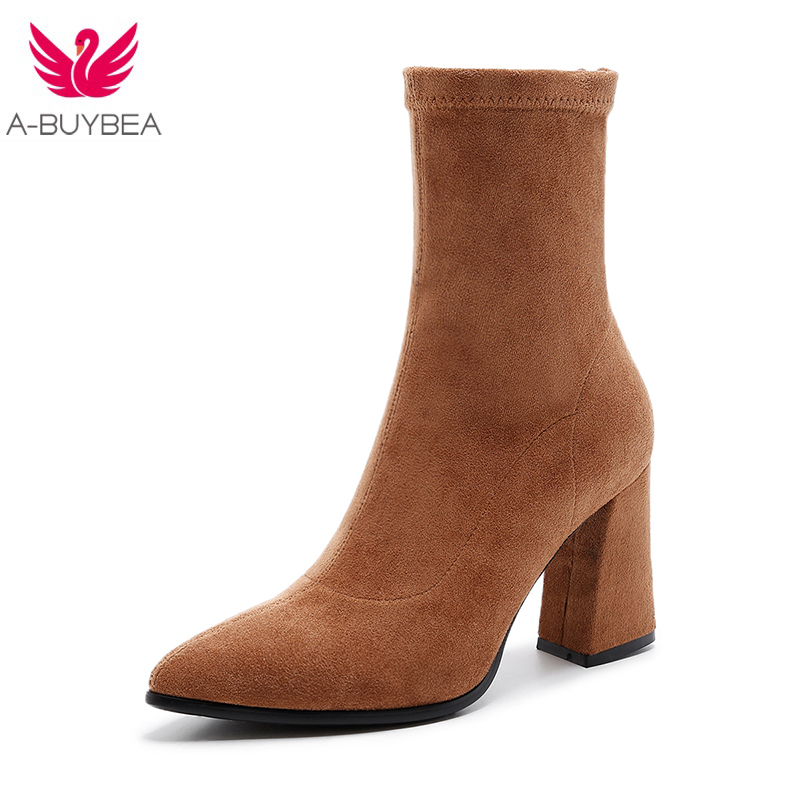 Kid Suede Fashion Mid-Calf Elastic Sock Boots Chunky High Heels Stretch Women Autumn Sexy Booties Pointed Toe Women Pump Size 40 gaozze fashion women socks boots mid calf thick high heels boots women comfortable elastic knitted fabric female boots brand