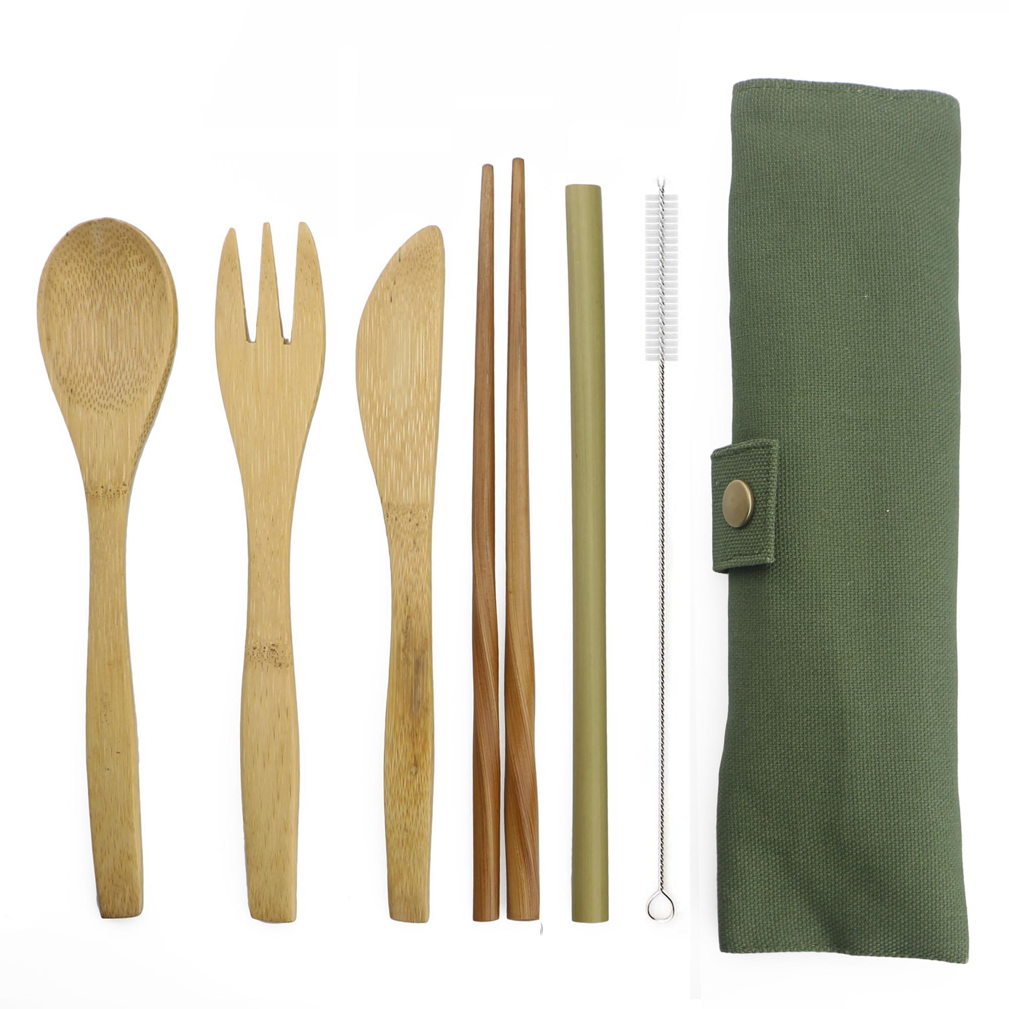 6-stück Tragbare Luxus Geschirr Japanische Holz Besteck Set Bambus Besteck Stroh Mit Tuch Tasche Küche Lebensmittel Geschirr Abendessen