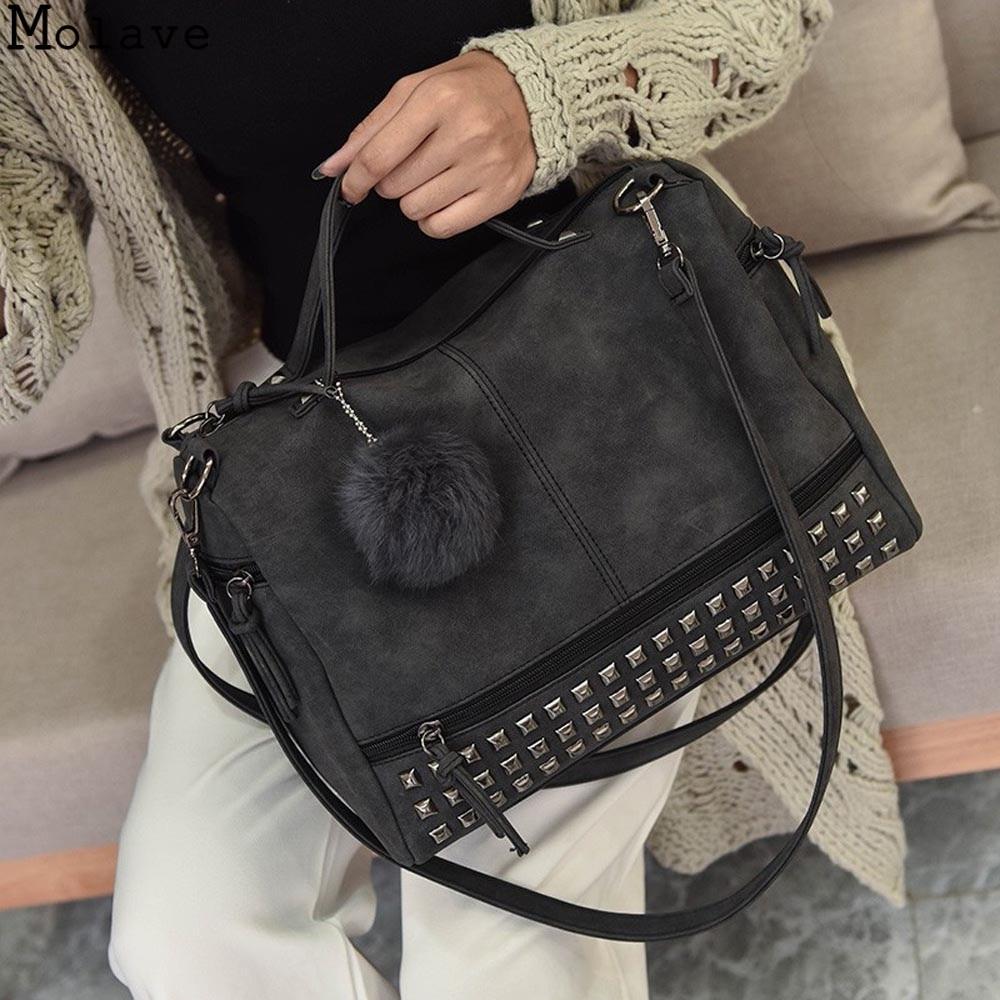 Molave 2019 New Women Handbags Female Studded Large Leather Shoulder Bag Handbag Tote Purse Ladies Satchel Travel Bag 18.JULY.31 shoulder bag