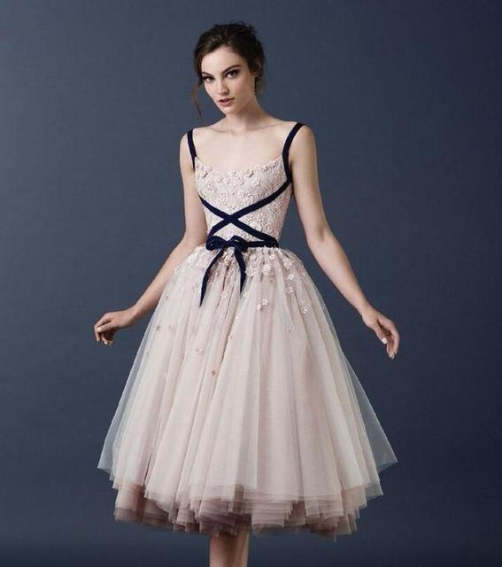 Champagne Vintage Tea Length Short Wedding Dresses 2019 1950s
