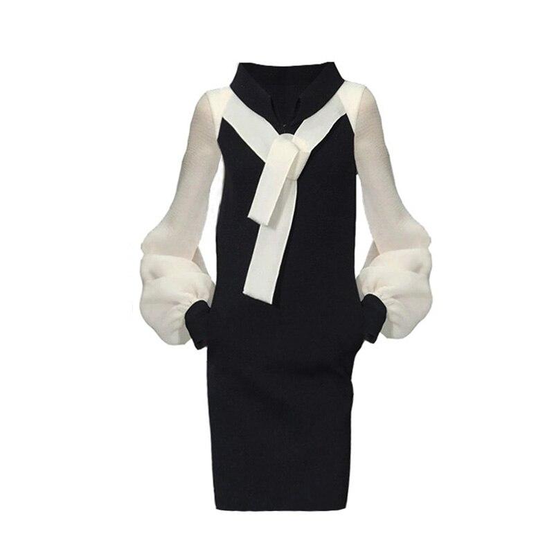 Kadın Giyim'ten Elbiseler'de 2018 High End Caltwalk Moda Kadınlar Standı Yaka Uzun Kollu Kalem Bodycon Kısa Elbise Sonbahar Patchwork Kısa Vestidos C2490'da  Grup 2