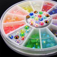 DIY nail art decorations Wheel mix colors 3mm AB jelly Acrylic crystal Nail Glitter Rhinestones Tools