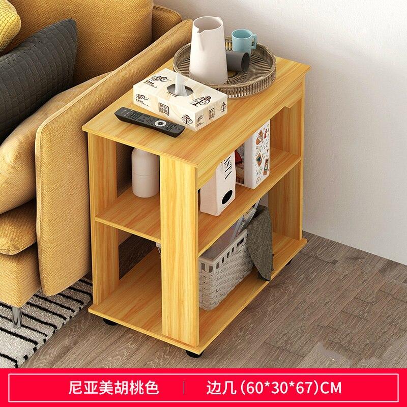 Многофункциональный журнальный столик Современная гостиная диван угловой столик имитация дерева боковые шкафы прикроватная стойка для хранения с колесом - Цвет: C