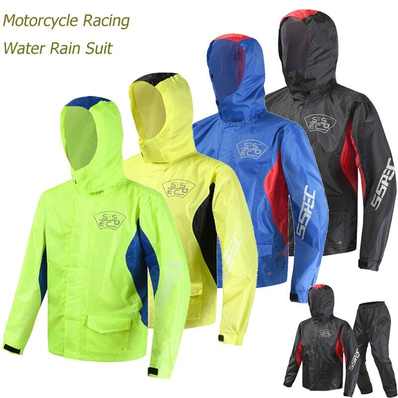 SSPEC Moto Rider Cappotto di Pioggia Moto Da Corsa Tuta Da Pesca Capa Chuva Moto Motociclo Luce del LED Può Staccabile Pioggia Cap MTB