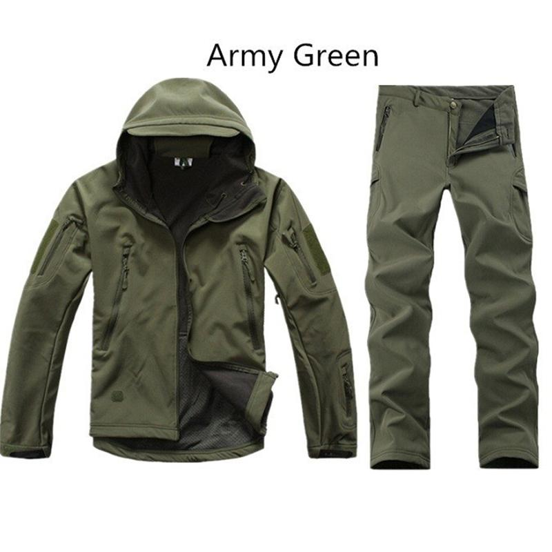 Shark Skin Outdoor Hunting Sets Men Sport Softshell Tactical Camouflage Hunting Clothes Outdoor Suits Jackets Pants Hunting Sets double fleece camo suits fabric jungle camouflage hunting clothing sets for hunter clothes