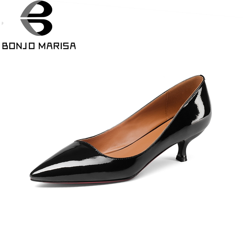 BONJOMARISA Brand New Genuine Leather Solid Thin Med Heels slip-on Pointed Toe Shoes Woman Fashion Spring Pumps Big Size 33-43 enmayer spring autumn women fashion party rhinestone beading pumps shoes pointed toe slip on thin heels large size 34 43 beige