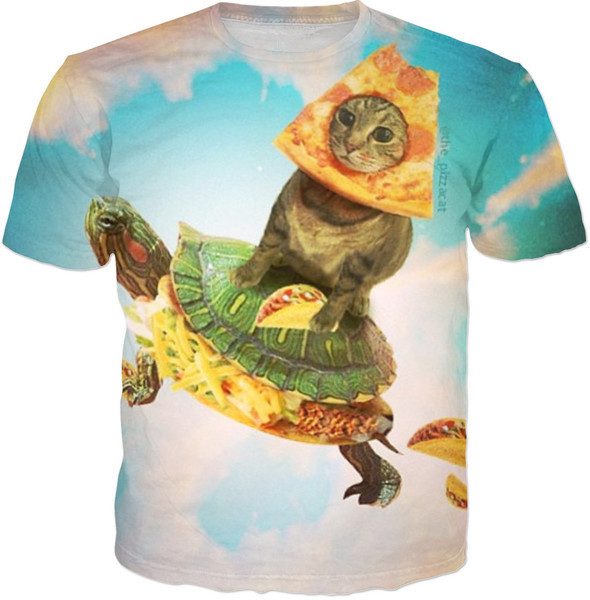 743e51e77b Pizza Cat On Turtle taco Shooter T shirt Funny Cat Tops tee short sleeve  Pizza in Cat Cute t shirt 3D clothing drop ship