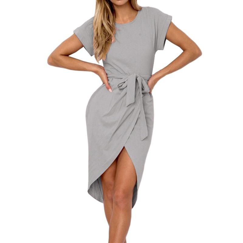 Irregular Casual Vestidos Vintage Dress Knee-Length Bodycon Bandage Women Solid Dress with Belt H6