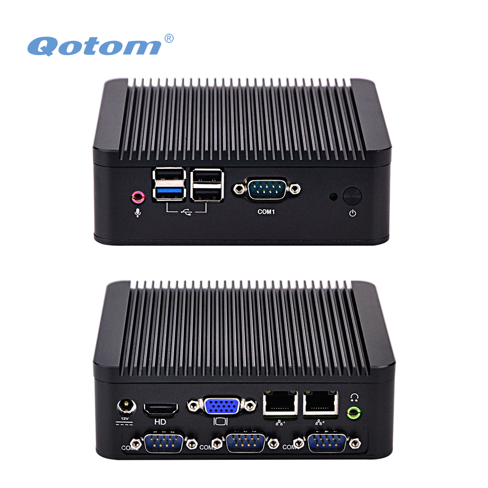 QOTOM Quad core Mini PC Q190P with 2 display port, 2 LAN, 4 USB, 4 COM, fanless Mini PC bay trail j1900 2 lan 4 usb 2 display ports 4 com port celeron 3215u 1 7g dual core x86 mini itx motherboard 12v q3215ug2 h