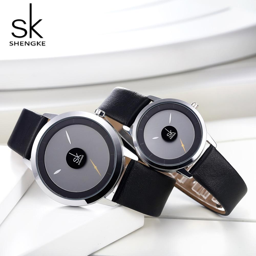 Quartzo-relógio de Pulso Shengke Casal Relógios Moda Feminino Relógio Relojes Mujer Casual Senhoras Montre Femme Criativo Dial