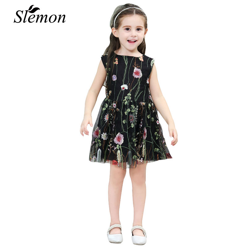 2018 Kids 1 2 3 4 5 6 7 8 Years Sleeveless Lace Elegant Girls Embroidery Floral Dress Clothing Fashion Gauze Mesh Summer Dresses berngi 2 8 years summer 100