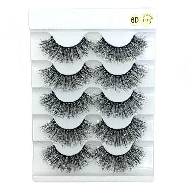 5 Pairs 6D Faux Mink Hair False Eyelashes Natural Long Wispies Lashes Handmade Cruelty-free Criss-cross Eyelashes Makeup Tools 1