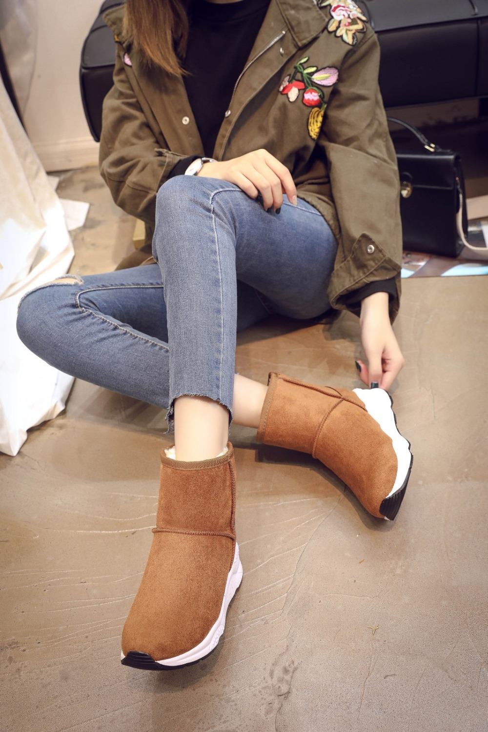 Winter Snow Boots Women Casual Shoes Slip On Warm Plush Women Ankle Boots Flat Heel Sport Ladies Shoes Booties Botas Mujer XZ82 (7)