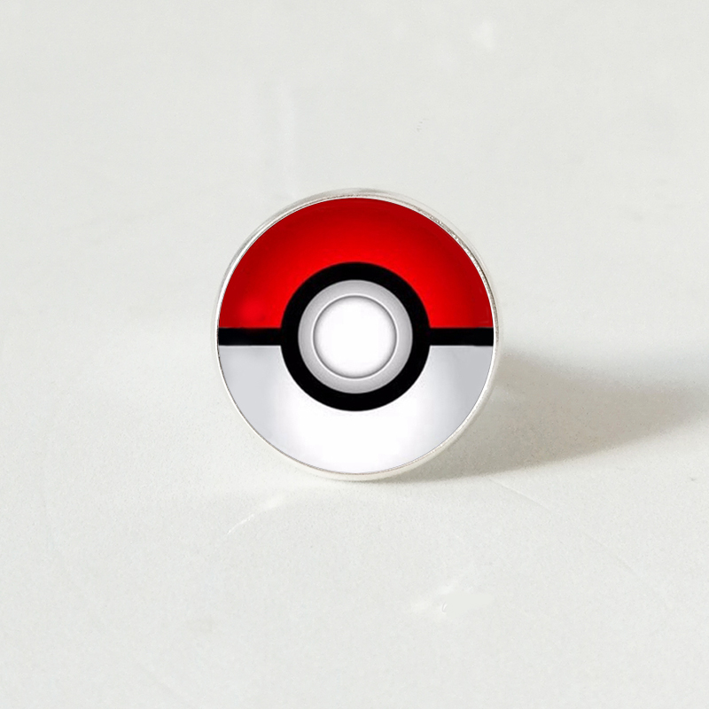 Pokemon Inspired ring,Glass Round Jewelry silver ring for men women gift