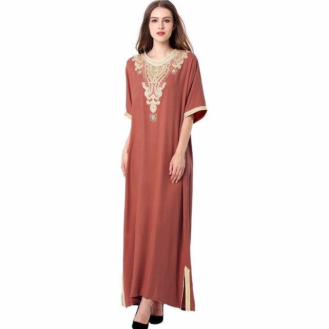 306b1a171b5 Long sleeve long Dress maxi muslim dress islamic kaftan abaya plus size  women clothing big size dress vintage embroidery tunic