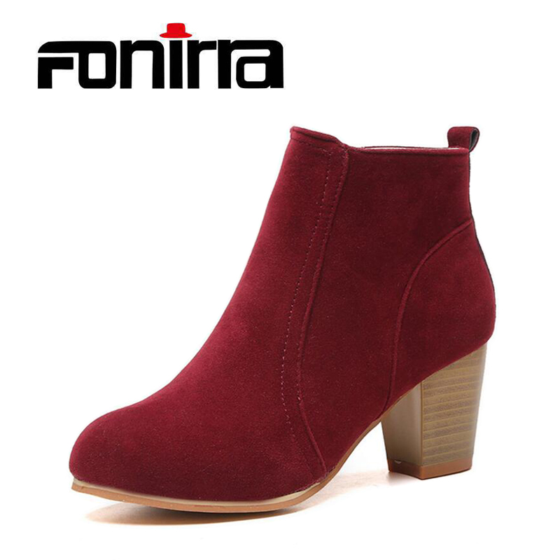 FONIRRA Women Ankle Boots Square High Heel Boots for Woman Fashion Zip Black Autumn Winter Womens Boots Shoes 231 2017 fashion new red horsehair women ankle boots square high heel short booties autumn zip up martin botines mujer women pumps