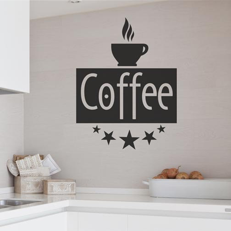Coffee Vintage Lettering Wall Decal Decorative Brand New