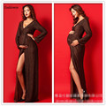 New Maternity Dresses Photography Props V-neck Long Robe De Grossesse Shooting Maternity Clothes