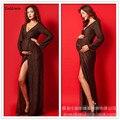 Novos Vestidos de Maternidade Fotografia Adereços Com Decote Em V Longo Robe De Grossesse Tiro a Roupa de Maternidade