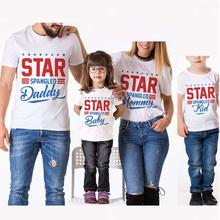 Family Look Matching Clothes Cotton Short T-Shirt For Mother Daughter And Father Son Clothing Star Creative Letter Print Outfits family clothing matching mother daughter father son hooded hoodies letter causal t shirt for girls boys mae e filha family look