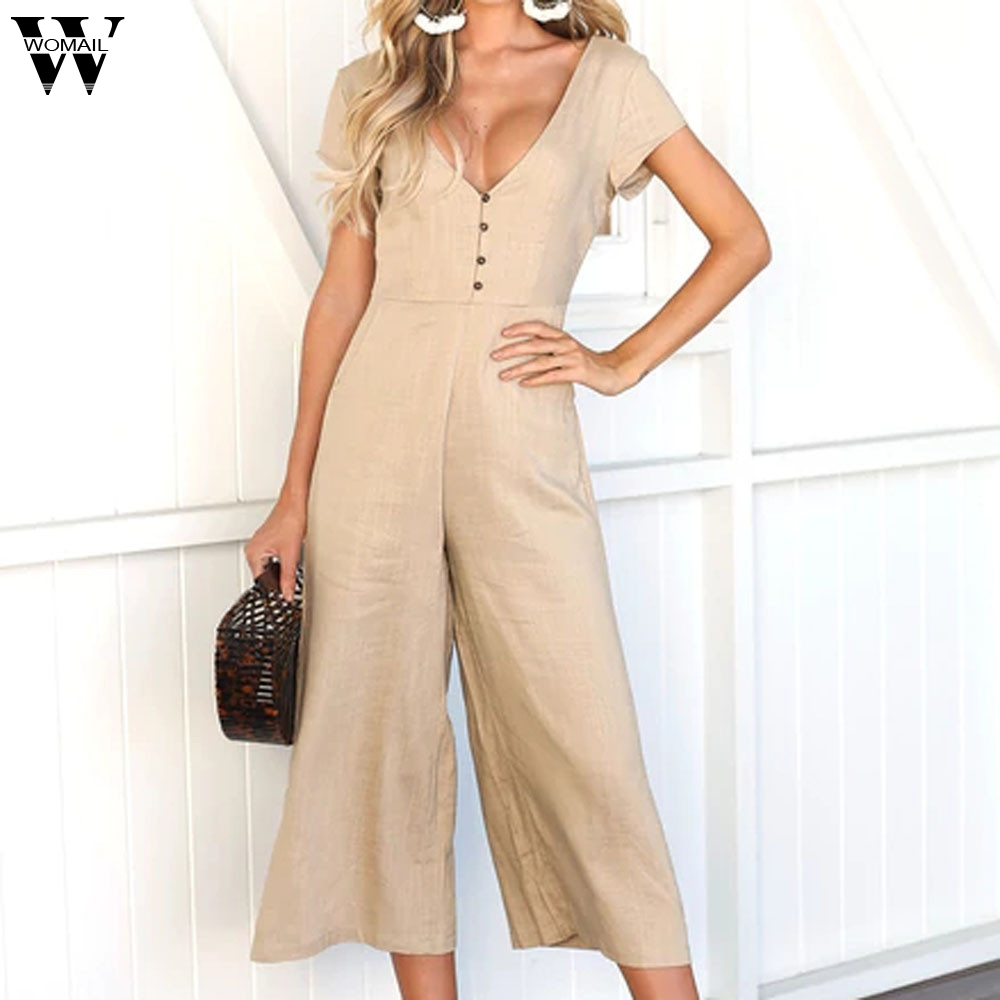 Womail bodysuit Women Summer Fashion V-Neck Short Sleeve Strappy Holiday Long Playsuits Trouser   Jumpsuit   new 2019 dropship M4