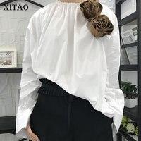 XITAO Korea 2018 Spring New Fashion Women 3D Flower Decoration Split Full Sleeve Shirts Female