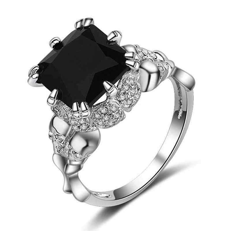 אופנה 8 סגנון פאנק גולגולת תכשיטי נשים טבעת AAAAA זירקון cz 10KT שחור גולדפילד אירוסין נישואים טבעת סז 5-11