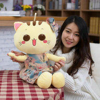 El nuevo venir 30-80 cm grandes encantadores ojos cat impresión de la muñeca vestido cat juguetes de peluche de regalo de cumpleaños Los Niños niños bebé juguetes Chica Favor Presente