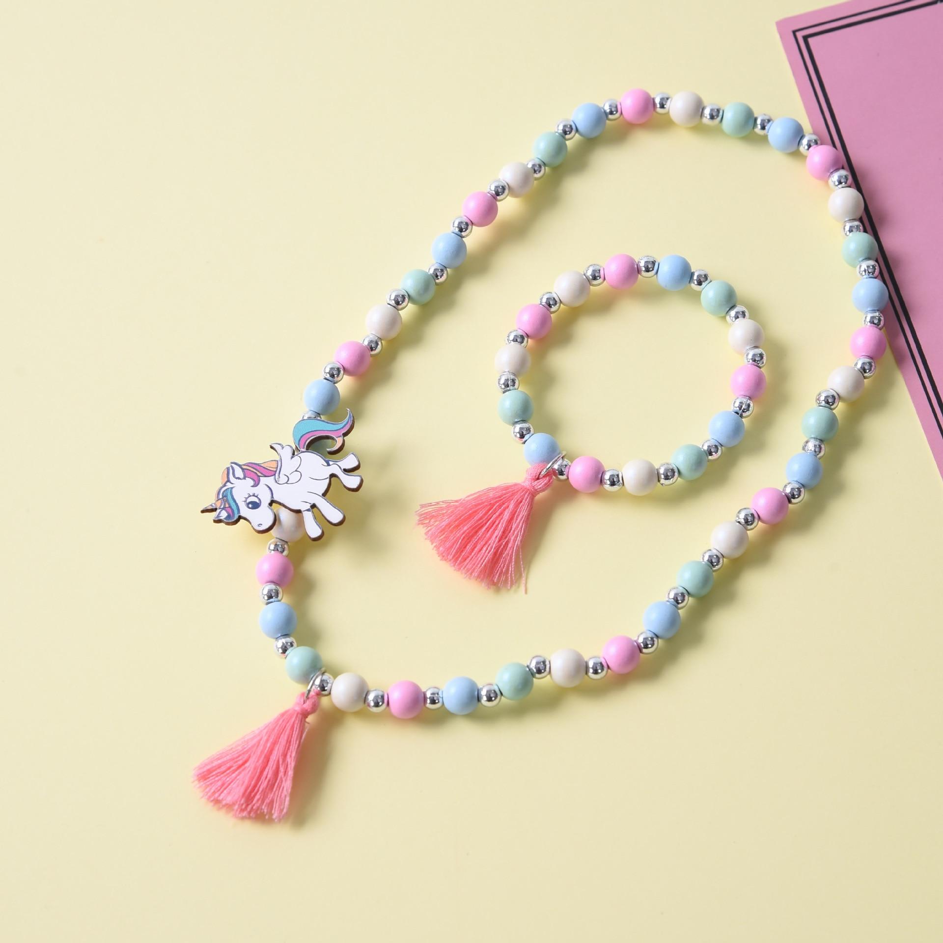 Bonito unicórnio dos desenhos animados flor camisola das crianças colar pulseira para presente das crianças cp2649