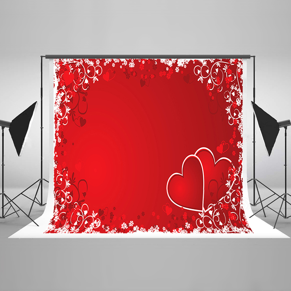 Valentine's Day Photography Background Red Love Flowers Computer Printing Backdrops White Snowflakes Backdrops for Photography