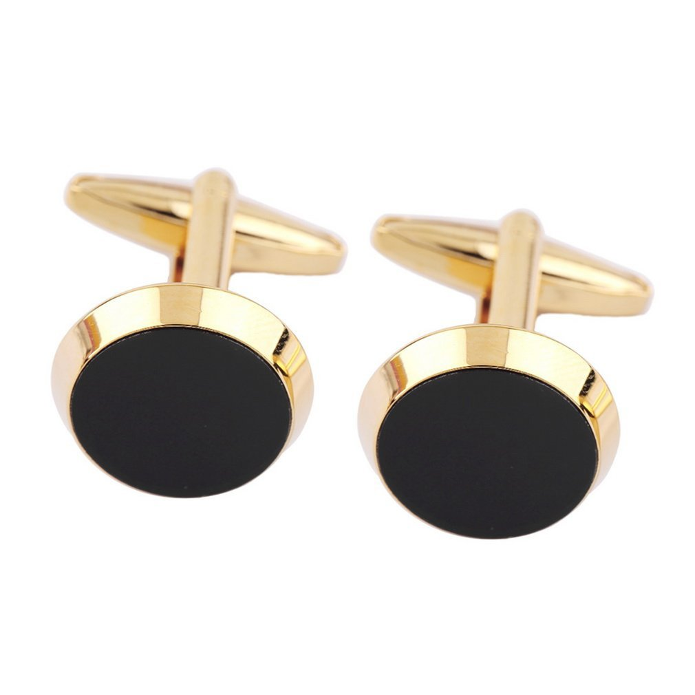 Mens Wedding Party Gifts: Luxury Gold Black Color Mens Round Shirt Cuff Links