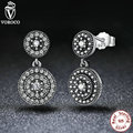 925 Sterling Silver Radiant Earrings Clear CZ Crystals Surrounded Ancient Silver Women Drop Earrings Compatible with VRC