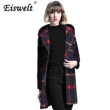 Fashion 2017 Winter Jacket Coats Women Windbreaker Black Women Plaid Trench Coat Hooded Elegant Wool Blend