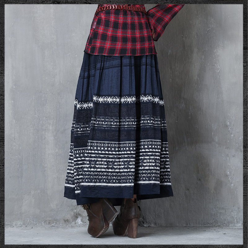 Llegada Mujeres Falda Irinaw427 2018 Vintage Larga Elástico Algodón Nueva Cintura Bordado BWwqwfTv5