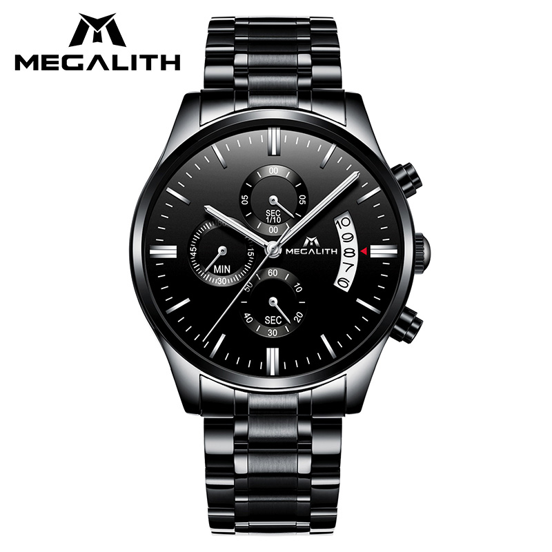 MEGALITH Black Stainless Steel Watch Men Waterproof Chronogra Quartz Watch For Men Date Calendar Military Sports Wrist Watches megalith quartz watches mens waterproof chronograph calendar silver stainless steel wrist watch gents sport business men s watch
