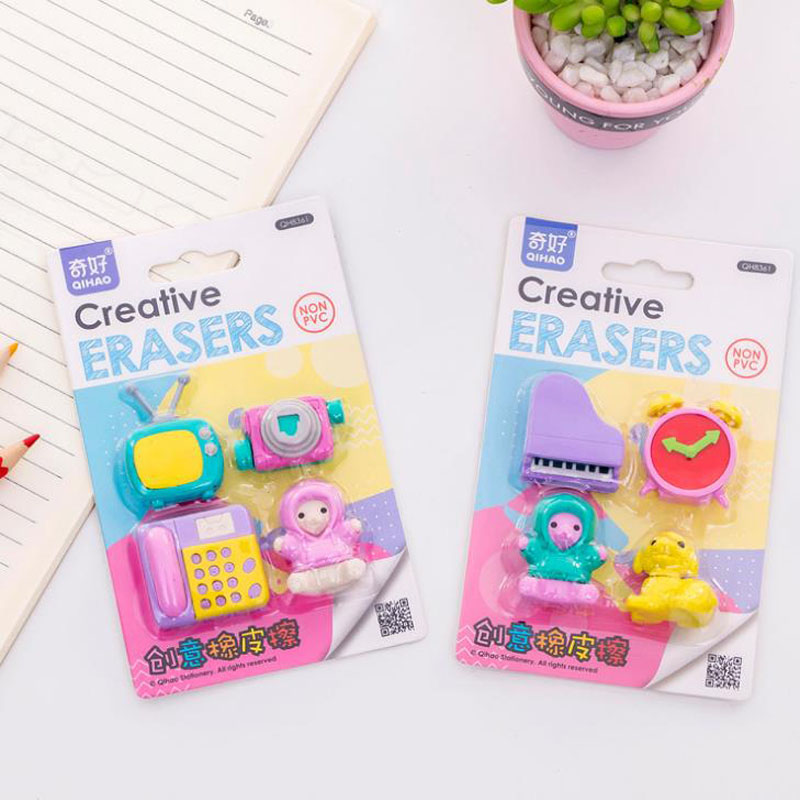 Eraser 4 Pcs/pack Kawaii Furniture Television Telephone Piano Camera Clock Dog Rubber Pencil Erasers School Students Gifts Stationery Delicacies Loved By All