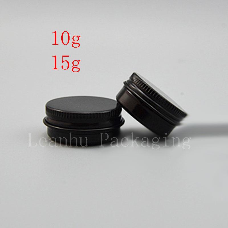 10g 15g Mini Black Aluminum Jar Cream Sample Tin Cosmetic Lip Balm Container Small Metal Pot