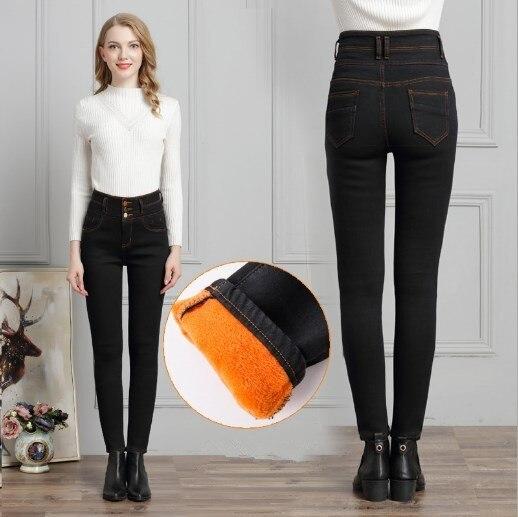 Grande taille 4XL taille haute femme Jeans pantalon Stretch Skinny femme Denim pantalon bleu noir gris chaud polaire Jean pantalon bouton mouche